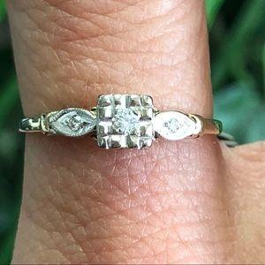 Vintage 14k Gold Diamond Engagement Ring 3 stone